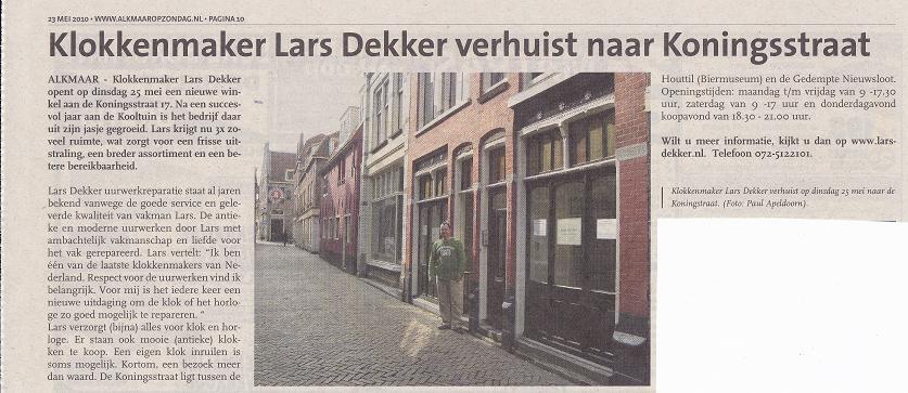 Lars Dekker verhuist naar Koningsstraat