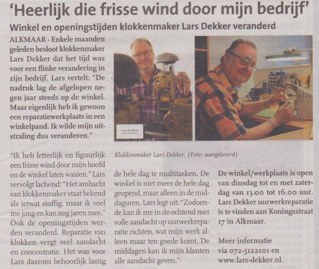 Klokkenmaker Lars Dekker in de krant
