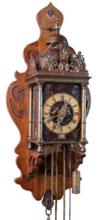 Zaanse klok met stoelklokuurwerk Dirck Volger in messing kast 1687