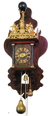 Zaanse wekkerklok in houten kast 1681
